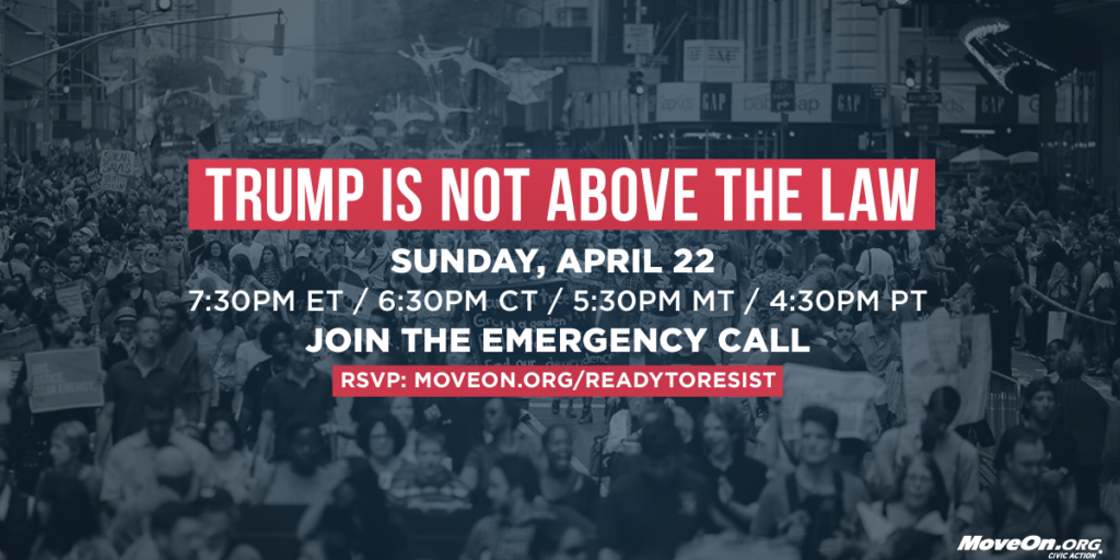 """Join Sunday's Emergency """"Trump is Not Above the Law"""" call with Karine Jean-Pierre, Sen. Cory Booker, and movement leaders."""